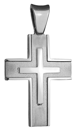 Σταυροί Βάπτισης - Αρραβώνα ΔΙΠΛΗΣ ΟΨΕΩΣ ΛΕΥΚΟΧΡΥΣΟΣ ΣΤΑΥΡΟΣ 18Κ 013027 Ανδρικό Χρυσός 18 Καράτια