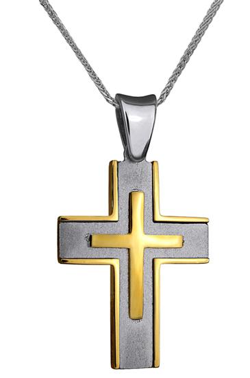 Βαπτιστικοί Σταυροί με Αλυσίδα ΣΤΑΥΡΟΣ ΔΙΠΛΗΣ ΟΨΗΣ 18Κ ΜΕ ΑΛΥΣΙΔΑ 013028C Ανδρικό Χρυσός 18 Καράτια