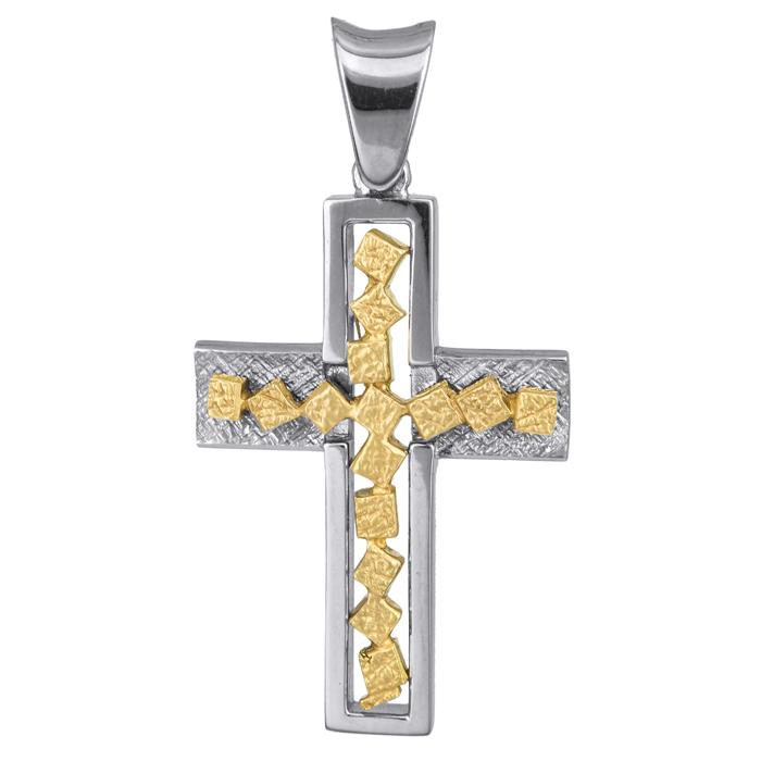 Σταυροί Βάπτισης - Αρραβώνα Δίχρωμος σταυρός Κ18 013031 Ανδρικό Χρυσός 18 Καράτια