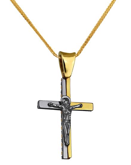 Βαπτιστικοί Σταυροί με Αλυσίδα ΔΙΧΡΩΜΟΣ ΣΤΑΥΡΟΣ 18Κ ΜΕ ΚΑΔΕΝΑ 013032C Ανδρικό Χρυσός 18 Καράτια