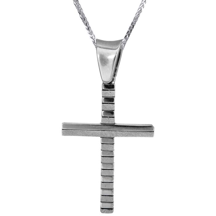Βαπτιστικοί Σταυροί με Αλυσίδα ΣΤΑΥΡΟΣ ΛΕΥΚΟΧΡΥΣΟΣ 18Κ ΜΕ ΑΛΥΣΙΔΑ 013033C Ανδρικό Χρυσός 18 Καράτια