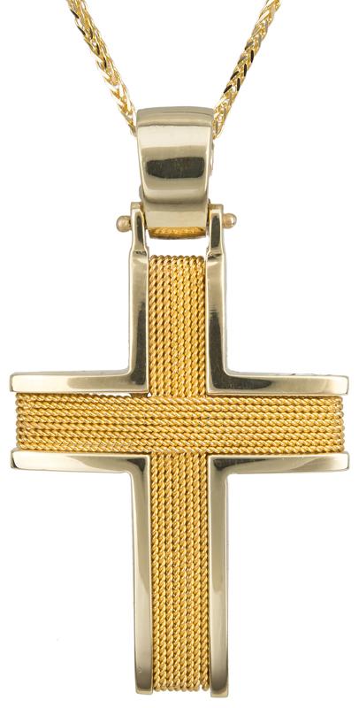 Βαπτιστικοί Σταυροί με Αλυσίδα Χειροποίητος συρματερός σταυρός 14Κ με αλυσίδα 011452C Ανδρικό Χρυσός 14 Καράτια