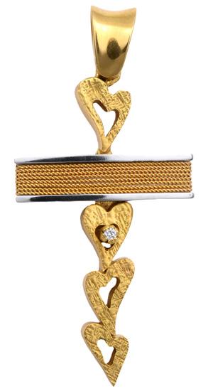 Σταυροί Βάπτισης - Αρραβώνα Δίχρωμος σταυρός 18Κ με διαμάντι 013047 Γυναικείο Χρυσός 18 Καράτια