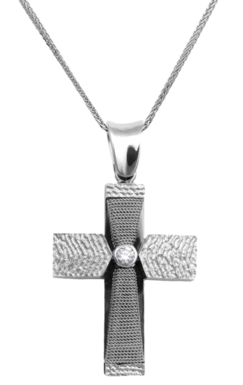 Βαπτιστικοί Σταυροί με Αλυσίδα Λευκόχρυσος σταυρός 18Κ με αλυσίδα 013052C Γυναικείο Χρυσός 18 Καράτια
