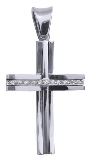 Σταυροί Βάπτισης - Αρραβώνα Λευκόχρυσος σταυρός 18Κ με διαμάντια 013053 013053 Γυναικείο Χρυσός 18 Καράτια