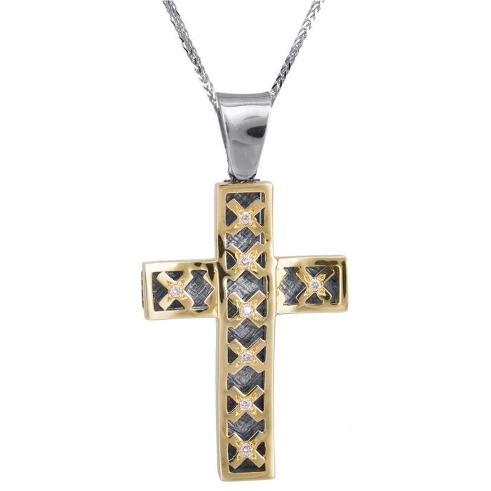 Βαπτιστικοί Σταυροί με Αλυσίδα Σταυρός δίχρωμος 18Κ με μπριγιάν και αλυσίδα 013054C Γυναικείο Χρυσός 18 Καράτια