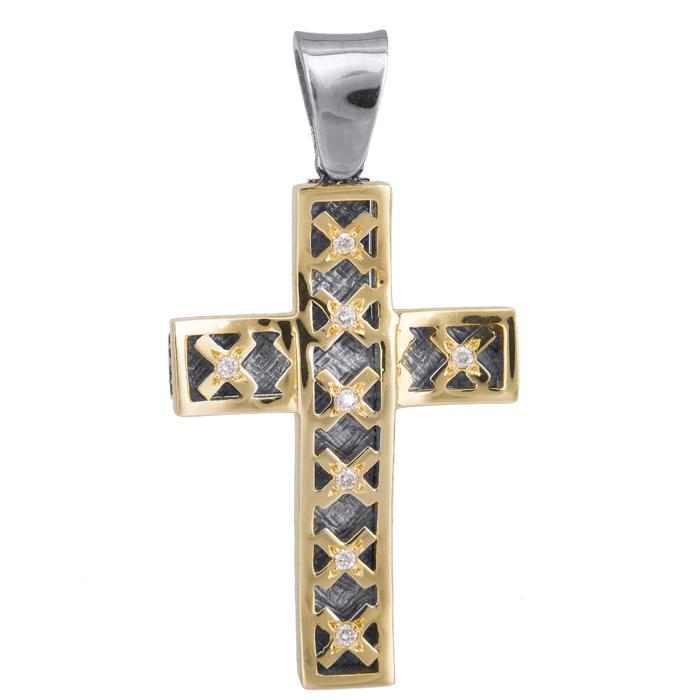 Σταυροί Βάπτισης - Αρραβώνα Δίχρωμος σταυρός 18Κ με διαμάντια 013054 Γυναικείο Χρυσός 18 Καράτια