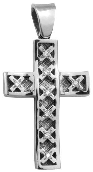 Σταυροί Βάπτισης - Αρραβώνα Λευκόχρυσος σταυρός 18Κ με διαμάντια 013055 013055 Γυναικείο Χρυσός 18 Καράτια