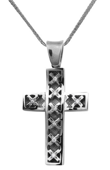 Βαπτιστικοί Σταυροί με Αλυσίδα Λευκόχρυσος σταυρός Κ18 με αλυσίδα 013055C Γυναικείο Χρυσός 18 Καράτια