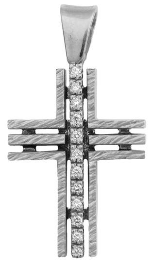 Σταυροί Βάπτισης - Αρραβώνα Λευκόχρυσος σταυρός Κ18 με διαμάντια 013057 013057 Γυναικείο Χρυσός 18 Καράτια