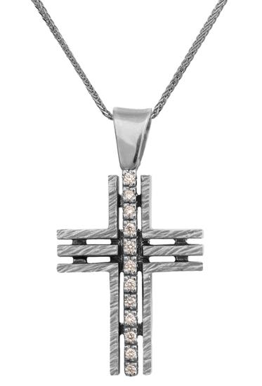 Βαπτιστικοί Σταυροί με Αλυσίδα Λευκόχρυσος σταυρός 18Κ με αλυσίδα 013057C Γυναικείο Χρυσός 18 Καράτια