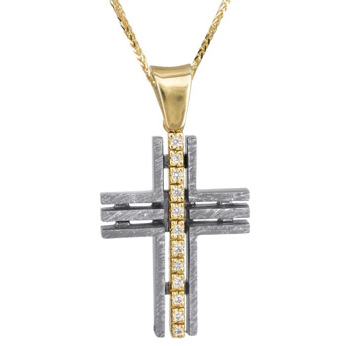 Βαπτιστικοί Σταυροί με Αλυσίδα Δίχρωμος σταυρός 18Κ με διαμάντια και αλυσίδα 013058C Γυναικείο Χρυσός 18 Καράτια