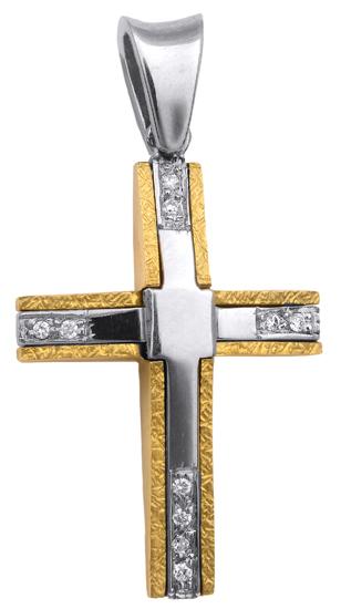 Σταυροί Βάπτισης - Αρραβώνα Δίχρωμος σταυρός 18Κ με διαμάντια 013062 Γυναικείο Χρυσός 18 Καράτια