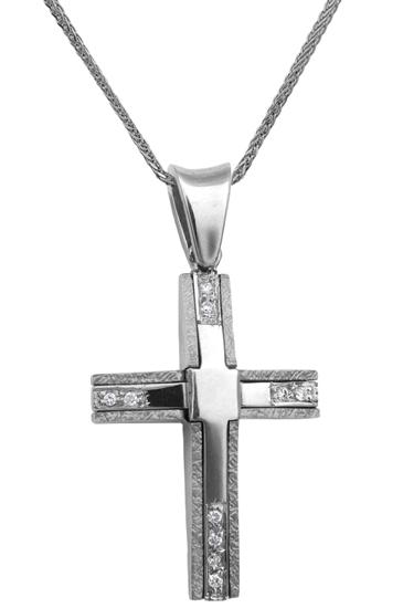 Βαπτιστικοί Σταυροί με Αλυσίδα Λευκόχρυσος σταυρός 18Κ με καδένα 013063C Γυναικείο Χρυσός 18 Καράτια