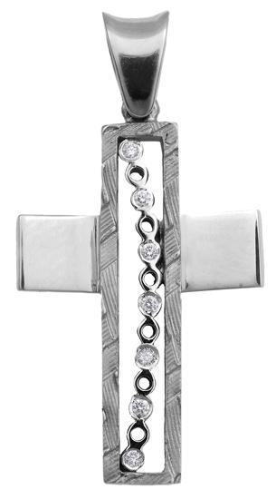 Σταυροί Βάπτισης - Αρραβώνα Λευκόχρυσος σταυρός 18Κ με διαμάντια 013065 013065 Γυναικείο Χρυσός 18 Καράτια