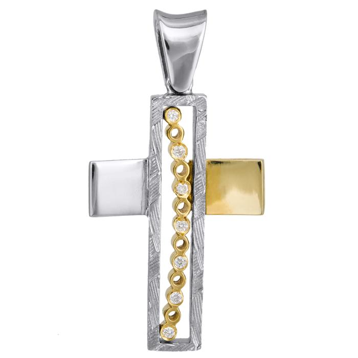 Σταυροί Βάπτισης - Αρραβώνα Δίχρωμος σταυρός 18Κ με διαμάντια 013066 Γυναικείο Χρυσός 18 Καράτια