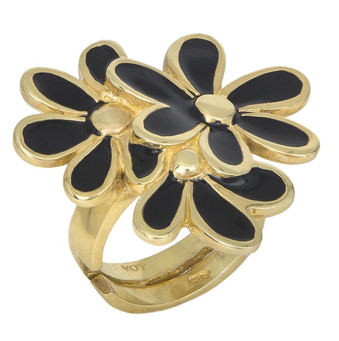 Eπίχρυσο ασημένιο δαχτυλίδι 925 λουλούδια με μαύρο σμάλτο 013174 013174 Ασήμι