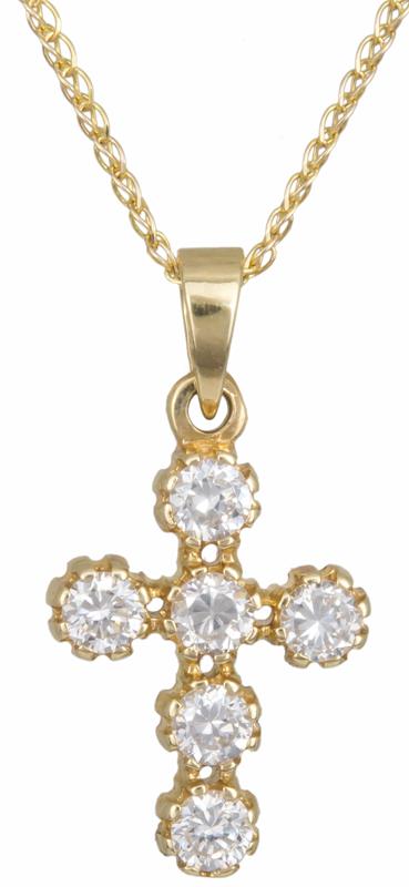 Χρυσός γυναικείος σταυρός Κ14 με ζιργκόν C013183 013183C Χρυσός 14 Καράτια