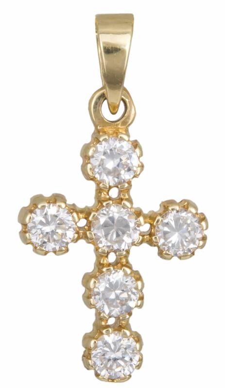 Χρυσός σταυρός με ζιργκόν Κ14 013183 013183 Χρυσός 14 Καράτια χρυσά κοσμήματα σταυροί