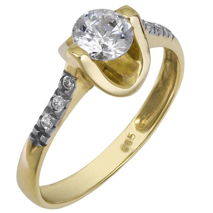 Γυναικείο μονόπετρο δαχτυλίδι Κ14 013242 013242 Χρυσός 14 Καράτια