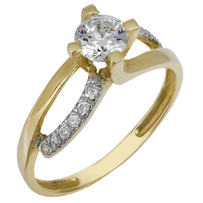 Χρυσό μονόπετρο δαχτυλίδι Κ14 013247 013247 Χρυσός 14 Καράτια