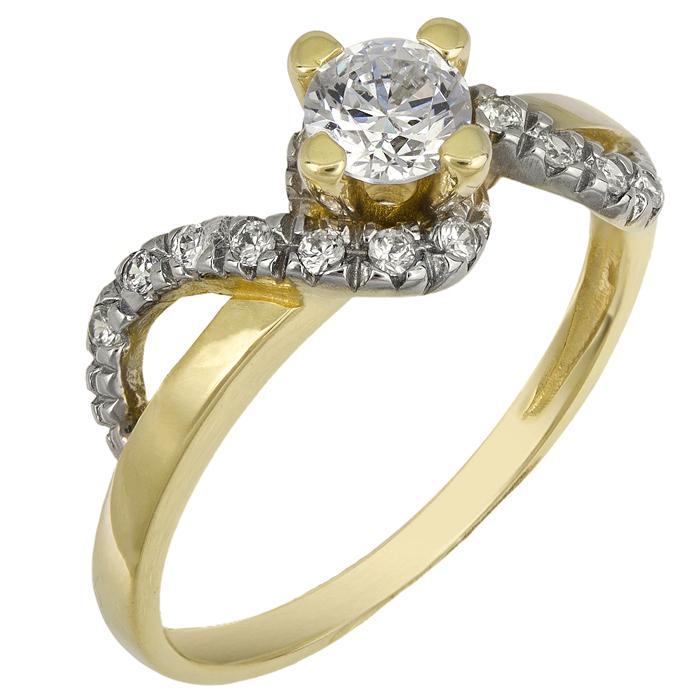 Χρυσό Μονόπετρο Δαχτυλίδι 14 καρατίων 013248 Χρυσός 14 Καράτια χρυσά κοσμήματα δαχτυλίδια μονόπετρα