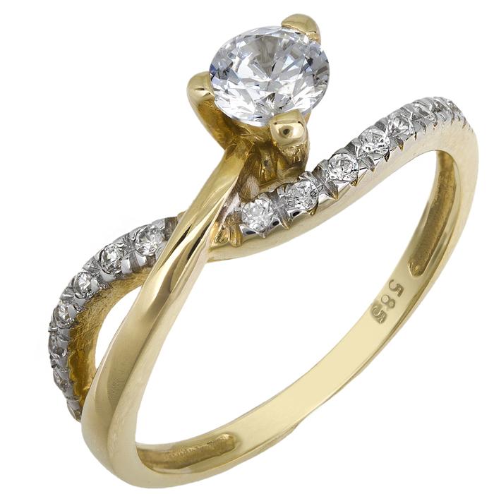 Χρυσό Μονόπετρο Δαχτυλίδι 14Κ 013253 Χρυσός 14 Καράτια