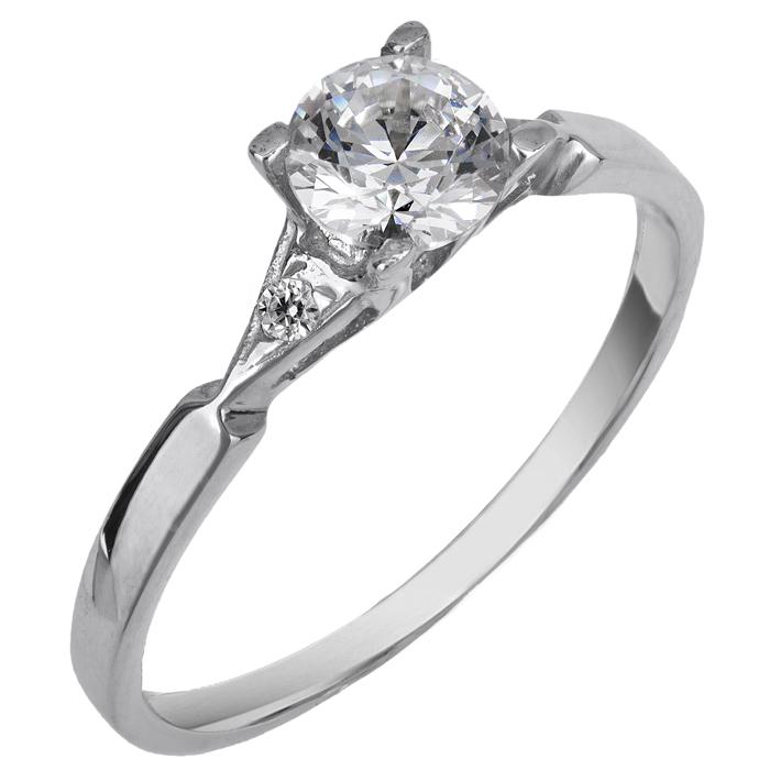 Λευκόχρυσο Μονόπετρο Δαχτυλίδι 14Κ με Πέτρες 013268 Χρυσός 14 Καράτια χρυσά κοσμήματα δαχτυλίδια μονόπετρα