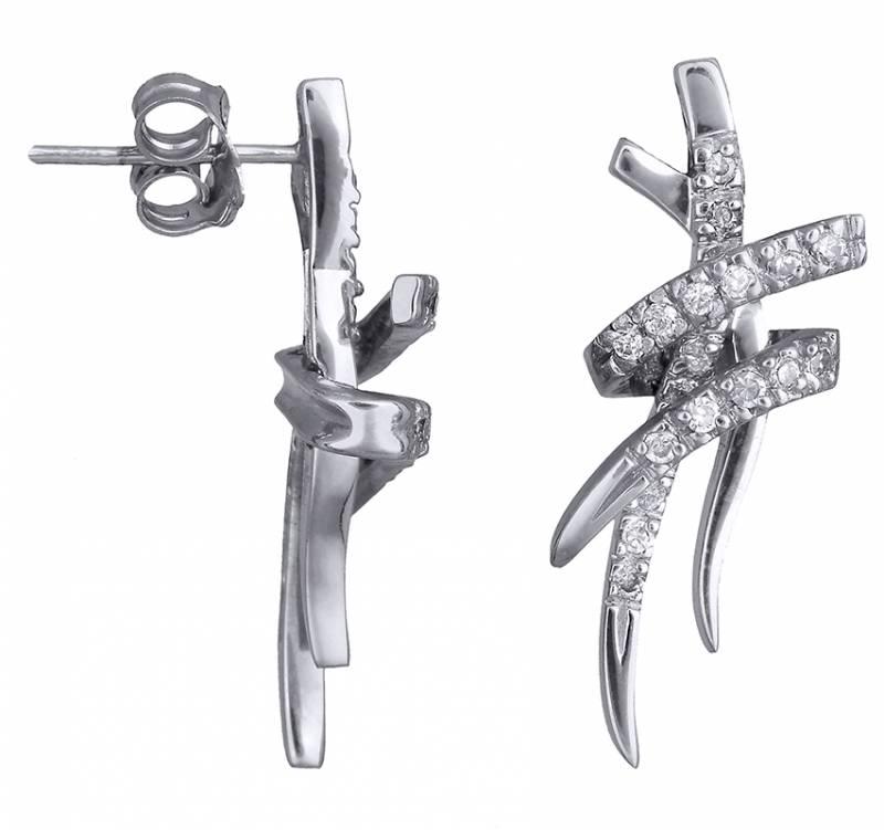 Λευκόχρυσα σκουλαρίκια γάμου Κ14 013330 013330 Χρυσός 14 Καράτια