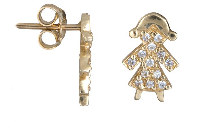 Σκουλαρίκια κοριτσάκι με ζιργκόν Κ14 013417 013417 Χρυσός 14 Καράτια