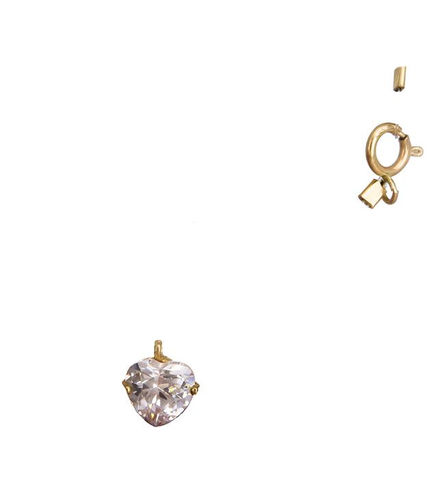 Κολιέ με ζιργκόν καρδούλα Κ14 013445 013445 Χρυσός 14 Καράτια χρυσά κοσμήματα καρδιές