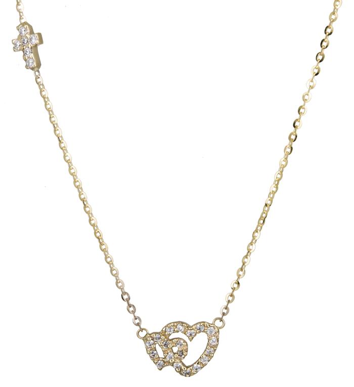 Γυναικείο κολιέ με καρδούλες 14Κ 013488 013488 Χρυσός 14 Καράτια