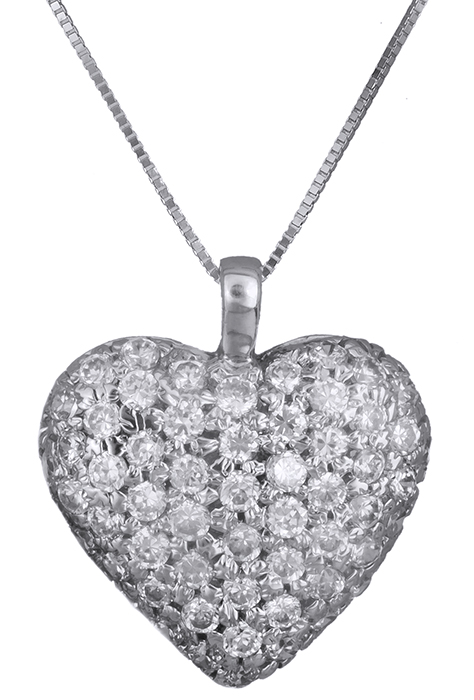 Λευκόχρυσο με πετράτη καρδιά 14Κ 013582 013582 Χρυσός 14 Καράτια χρυσά κοσμήματα καρδιές
