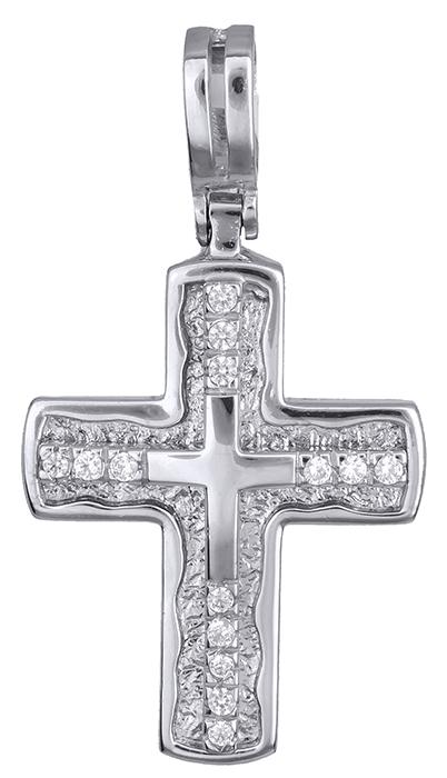 Σταυροί Βάπτισης - Αρραβώνα Λευκόχρυσος Σταυρός Κ14 001361 001361 Γυναικείο Χρυσός 14 Καράτια