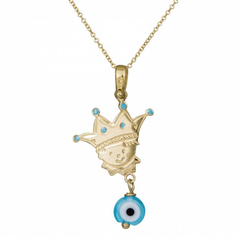Χρυσό γυναικείο κολιέ Κ14 Πρίγκιπας με γαλάζιο ματάκι 013774...