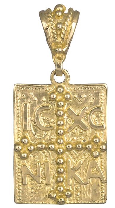 Χρυσό φυλαχτό κωνσταντινάτο Κ14 διπλής όψεως 013870 013870 Χρυσός 14 Καράτια