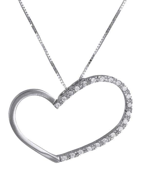 Κολιέ με λευκόχρυση καρδιά Κ14 013894 013894 Χρυσός 14 Καράτια χρυσά κοσμήματα καρδιές