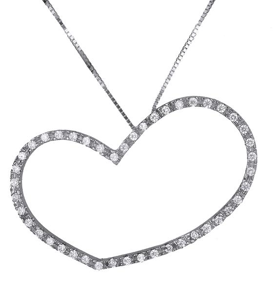 Κολιέ με πετράτη καρδιά Κ14 013896 013896 Χρυσός 14 Καράτια χρυσά κοσμήματα καρδιές