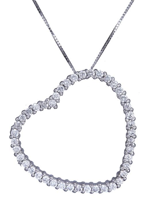Λευκόχρυσο κολιέ με καρδιά Κ14 013898 013898 Χρυσός 14 Καράτια χρυσά κοσμήματα καρδιές