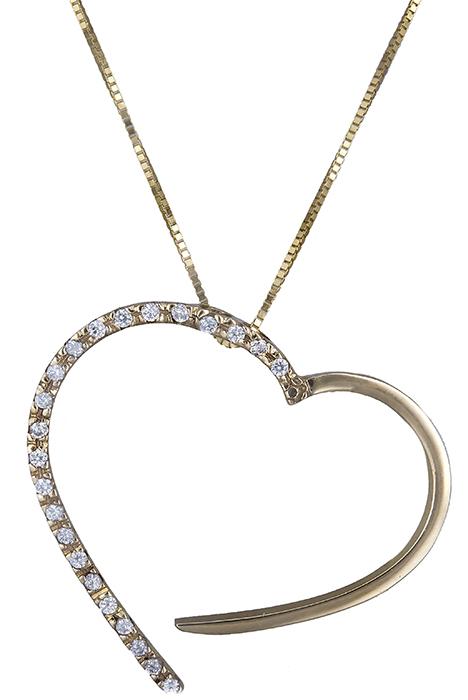 Κολιέ με ζιργκόν - καρδούλα Κ14 013931 013931 Χρυσός 14 Καράτια χρυσά κοσμήματα καρδιές