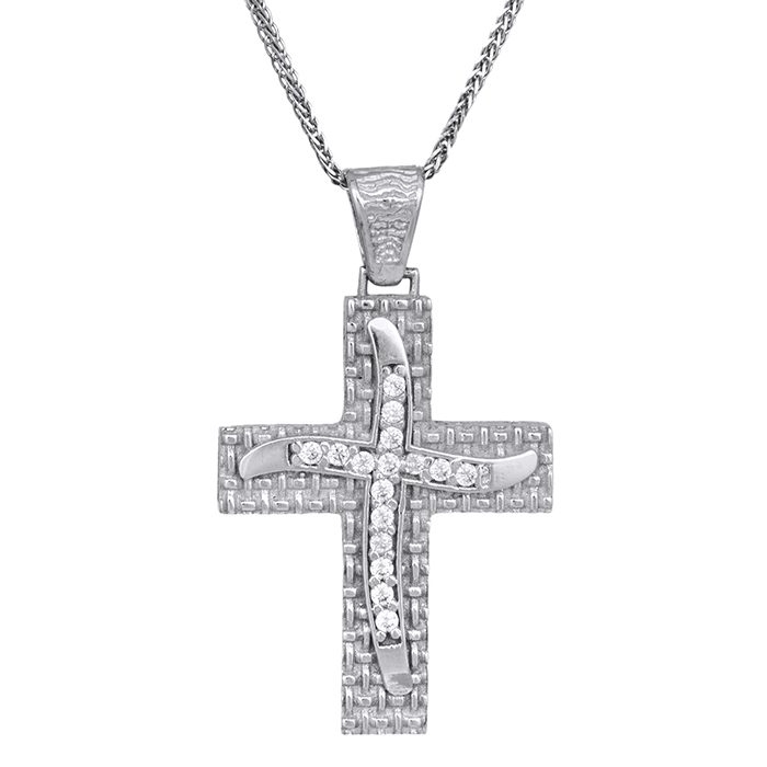Βαπτιστικοί Σταυροί με Αλυσίδα Σταυρός λευκόχρυσος με αλυσίδα Κ14 C013949 013949C Γυναικείο Χρυσός 14 Καράτια
