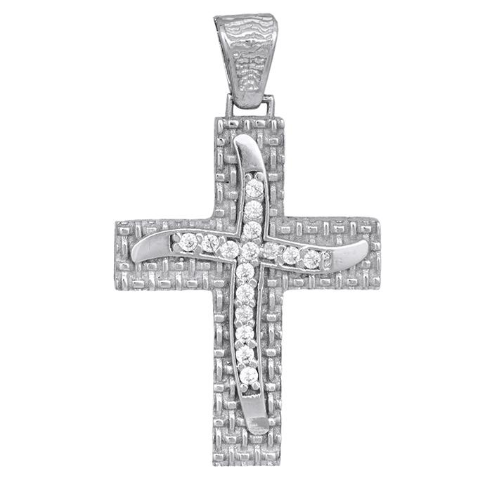 Σταυροί Βάπτισης - Αρραβώνα Γυναικείος λευκόχρυσος σταυρός με ζιργκόν Κ14 013949 013949 Γυναικείο Χρυσός 14 Καράτια