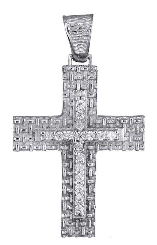 Σταυροί Βάπτισης - Αρραβώνα Γυναικείος λευκόχρυσος σταυρός 14Κ με ζιργκόν 013957 013957 Γυναικείο Χρυσός 14 Καράτια