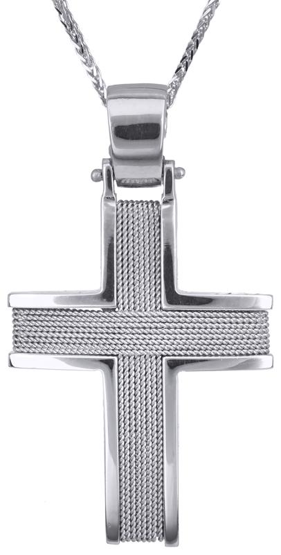 Βαπτιστικοί Σταυροί με Αλυσίδα Λευκόχρυσος σταυρός 18Κ C014122 014122C Ανδρικό Χρυσός 18 Καράτια