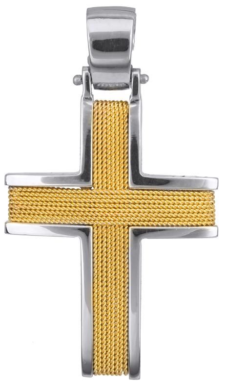 Σταυροί Βάπτισης - Αρραβώνα Δίχρωμος συρματερός σταυρός 14Κ 011454 Ανδρικό Χρυσός 14 Καράτια