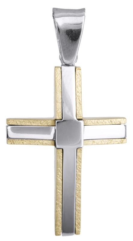 Σταυροί Βάπτισης - Αρραβώνα Δίχρωμος ανδρικός σταυρός 18Κ 014128 014128 Ανδρικό Χρυσός 18 Καράτια