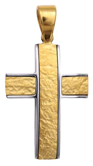 Σταυροί Βάπτισης - Αρραβώνα Δίχρωμος σταυρός 9Κ 014132 Ανδρικό Χρυσός 9 Καράτια