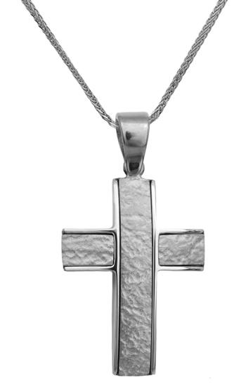 Βαπτιστικοί Σταυροί με Αλυσίδα ΛΕΥΚΟΧΡΥΣΟΣ ΣΤΑΥΡΟΣ 9Κ 014144C Ανδρικό Χρυσός 9 Καράτια