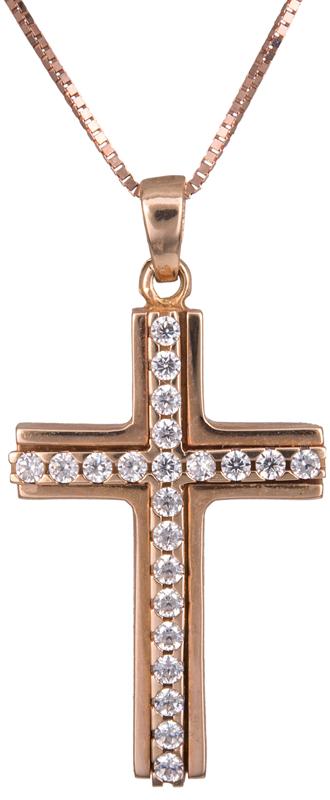 Βαπτιστικοί Σταυροί με Αλυσίδα Γυναικείος σταυρός ροζ gold με αλυσίδα Κ14 C014182 014182C Γυναικείο Χρυσός 14 Καράτια