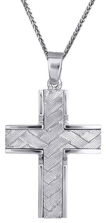 Βαπτιστικοί Σταυροί με Αλυσίδα Σταυρός βάπτισης σε λευκό χρυσό 14Κ C014198 014198C Ανδρικό Χρυσός 14 Καράτια